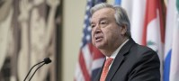 UN Photo/Mark Garten Secretary-General António Guterres speaks to the media at UN Headquarters. (file)